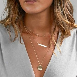 3/$25 Layered Bar & Coin Necklace